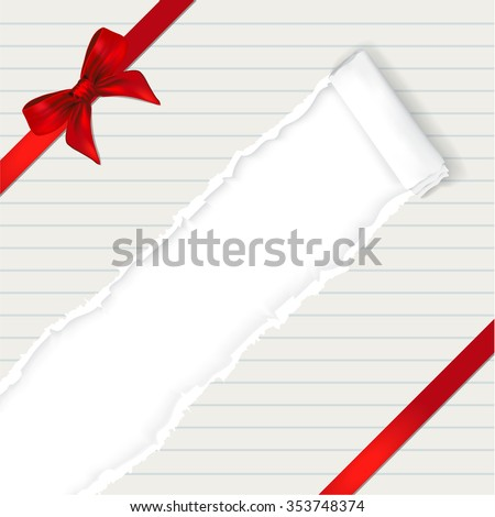Happy new year background with ribbon and torn paper effect. copy space for your text - vector - stock vector