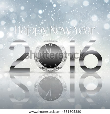 Happy New Year background with typography design - stock vector