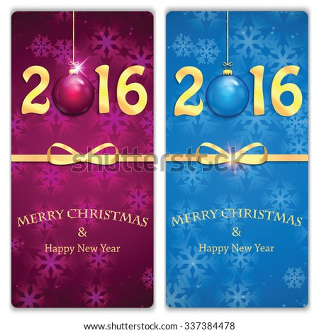 Happy new year backgrounds with Christmas baubles .New Year 2016.Christmas and New Year banners - stock vector