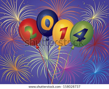 Happy New Year 2014 Balloons with Fireworks Display Background Vector Illustration