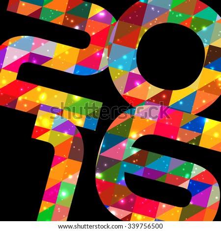 Happy new year 2016 banner, background illustration. Calendar cover design - stock vector