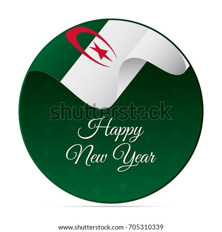 Happy new year banner or sticker algeria waving flag snowflakes background vector illustration