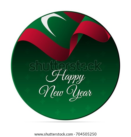 Happy new year banner or sticker maldives waving flag snowflakes background vector illustration