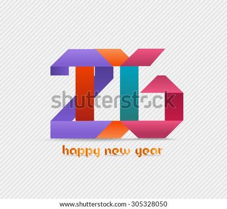 Happy new year 2016 banner, origami illustration. Calendar cover design - stock vector