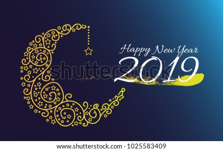 Happy new year 2019, beautiful greeting card with moon and star