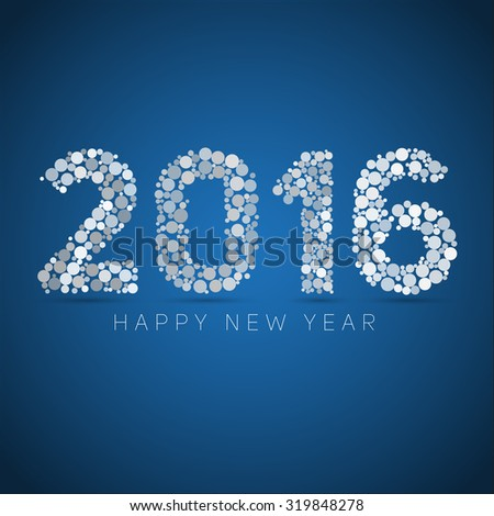 Happy new year 2016. blue and white dots design. Vector simple style illustration  - stock vector