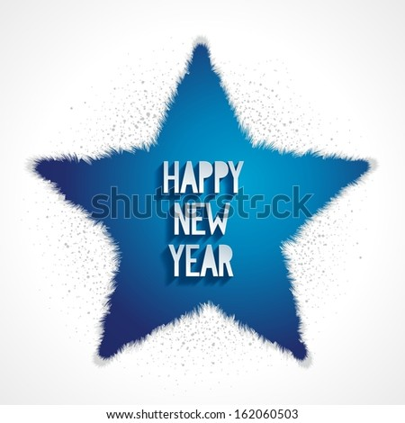Happy new year blue greeting card with volume effect on background, eps10