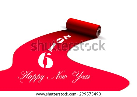 Happy new year 2016 brushes with paint - stock vector