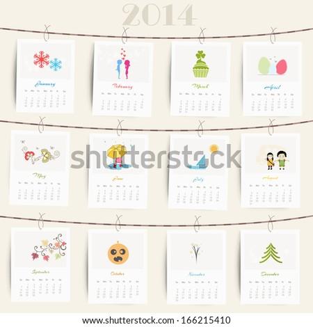 Happy New Year 2014 calendar..   - stock vector