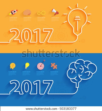 Happy new year 2017 calendar cover, Creative brainstorm concept business idea, innovation and solution, Creative design typographic vector illustration