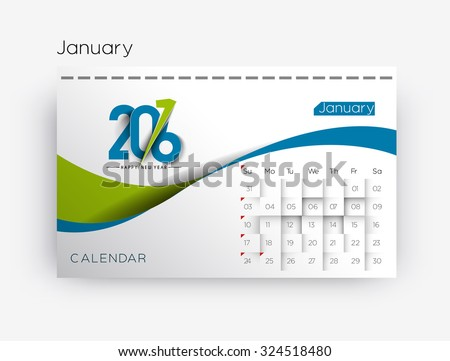 Happy new year 2016 calendar design. - stock vector