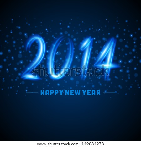 Happy new year - 2014 calligraphic design vector background from glow light - stock vector