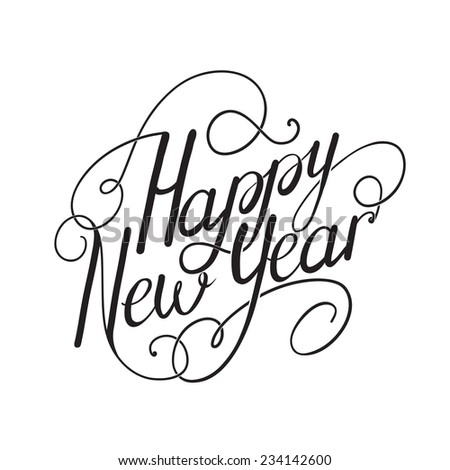 Happy new year calligraphy embellishments set for holiday design.  Hand lettering vector  - stock vector