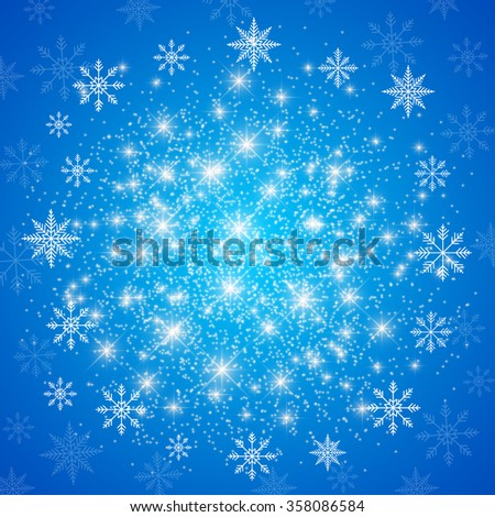 Happy New Year Card . Blue background  with golden snowflakes. Vector illustration. - stock vector
