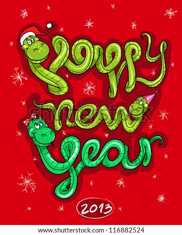 Happy new year card, 2013 calendar cover illustration with cartoon snake family. (12 months illustrations are also available in portfolio) - stock vector