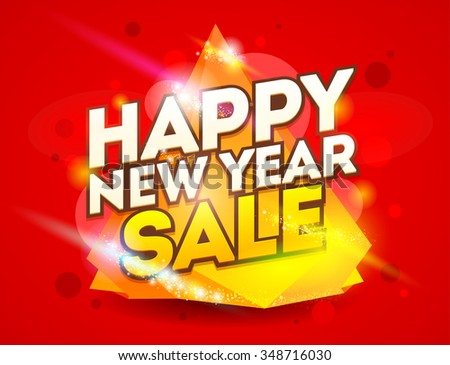 Happy New Year card design. Christmas sale banner design.Vector illustration.  - stock vector