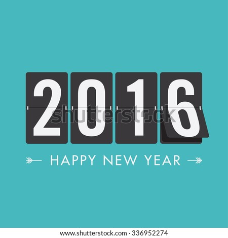 Happy new year 2016 card, editable vector design - stock vector