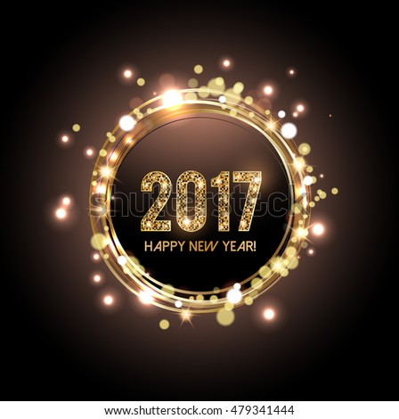 Happy New Year 2017 card, Glittering background