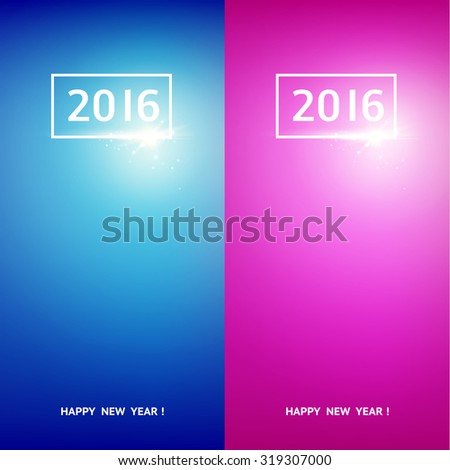 Happy new year card. Greeting card design template set. Merry christmas card over blue and violet background with white 2016. Vector illustration. - stock vector
