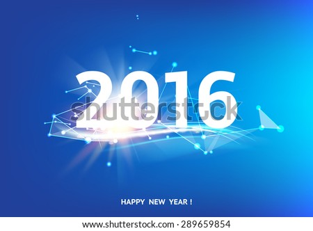 Happy new year card over blue background with white polygonal lines. Vector illustration. - stock vector