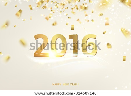 Happy new year card over gray background with golden sparks. Happy new year 2016. Holiday card. Template for your design. Vector illustration.