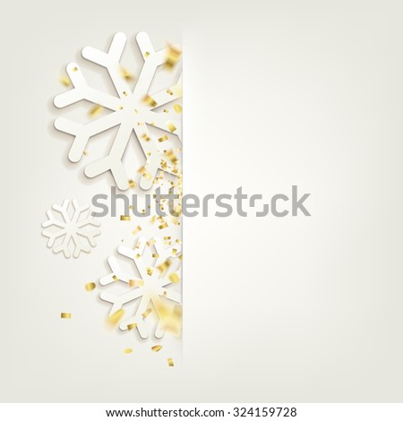 Happy new year card over gray background with snowflakes. New year 2016. Holiday card. Golden confetti falls isolated. Happy new year card over white background with golden sparks. Vector illustration - stock vector
