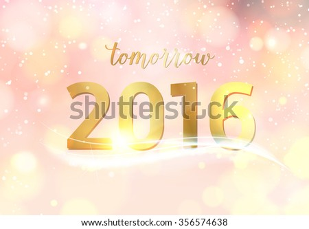 Happy new year card over pink background with golden bokeh. Vector illustration. - stock vector