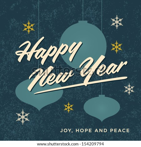 Happy new year card retro vintage - stock vector