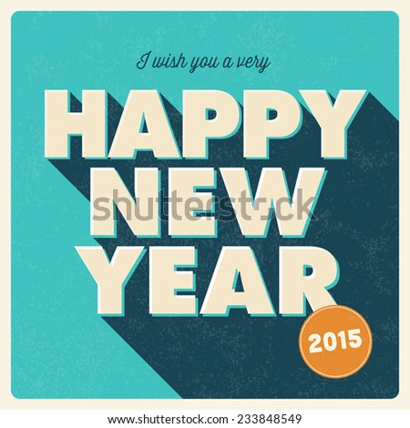 happy new year card retro vintage stock vector 233848549 shutterstock