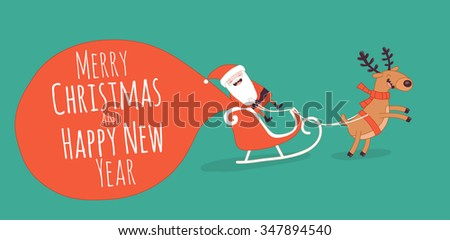 Happy New Year card. Santa's greetings. Vector illustration - stock vector