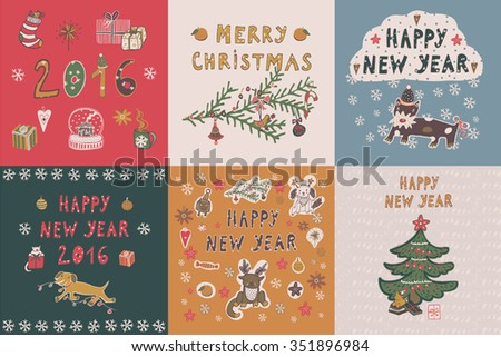 Happy New Year card set - stock vector