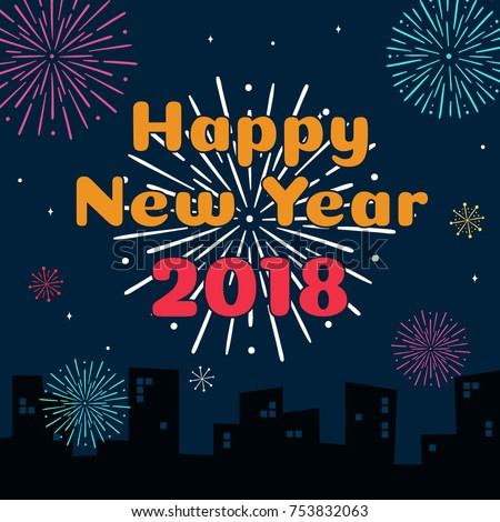 happy new year 2018 card template stock vector 753832063 shutterstock