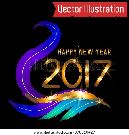 Happy New Year Card - 2017. Vector illustration.