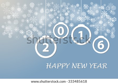 Happy new year card with Christmas ornaments, snowflakes and stars with the numbers 2016 on the trendy light blue background. - stock vector