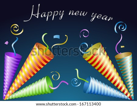 Happy New Year card with confetti and party horns - stock vector