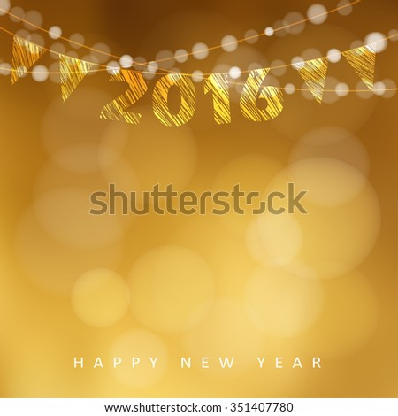 Happy New Year 2016 card with garland of glittering lights and party flags, vector illustration background - stock vector