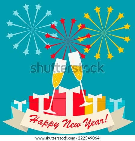 Happy new year card with two champagne glasses, gifts and fireworks in flat design style, vector illustration  - stock vector