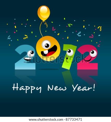 Happy New Year 2012 Cartoon - stock vector