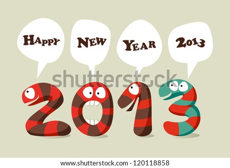 Happy New 2013 year cartoon greeting card. Vector illustration layered for easy manipulation and custom coloring. - stock vector