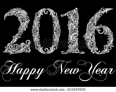 Happy New Year 2016 celebration background. Black and white color. Vector Version.  - stock vector