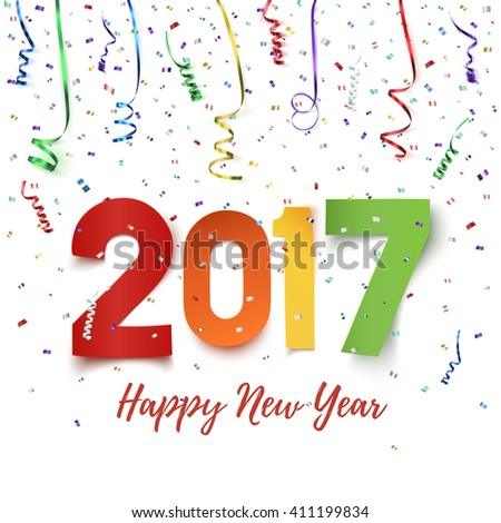 Happy New Year 2017 celebration background. Colorful paper typeface on backdrop with ribbons and confetti on white. Greeting card template. Vector illustration. - stock vector
