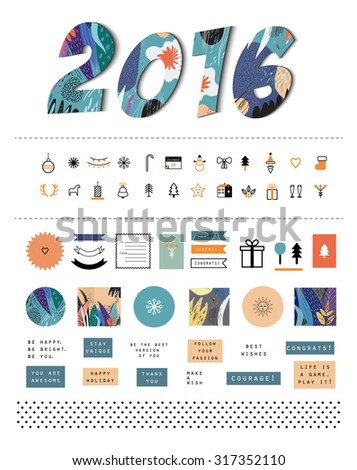 Happy New Year 2016 celebration background plus collection of holiday elements and icons. Ideal for cards, invitations, gift tags, scrapbooking. Vector. Isolated. Gradients free - stock vector