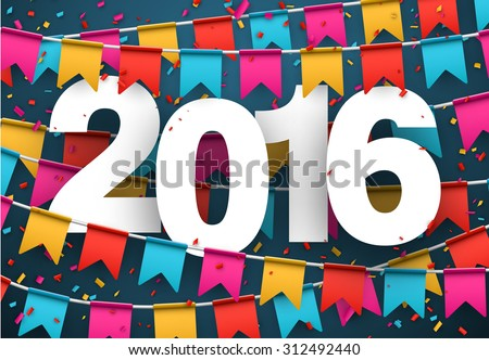 Happy 2016 new year celebration background. Vector paper illustration.  - stock vector