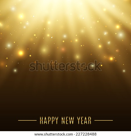 Happy New Year celebration background with particles and rays. Space.  Vector illustration - stock vector