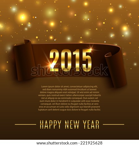 Happy New Year 2015 celebration background with realistic curved ribbon. Vector illustration - stock vector