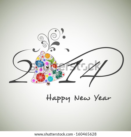 Happy New Year 2014 celebration background with stylish text and floral decorated gift box on grey background. - stock vector