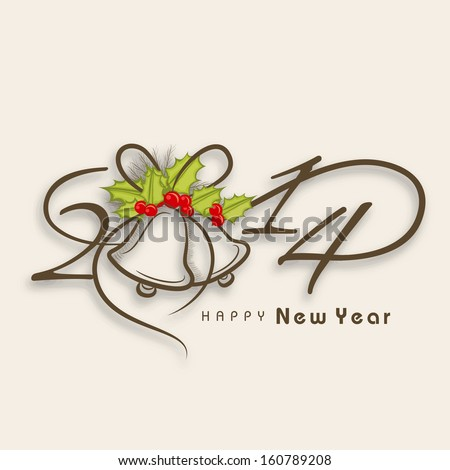 Happy New Year 2014 celebration background with stylish text and jingle bells, can be use as flyer, banner or poster.  - stock vector
