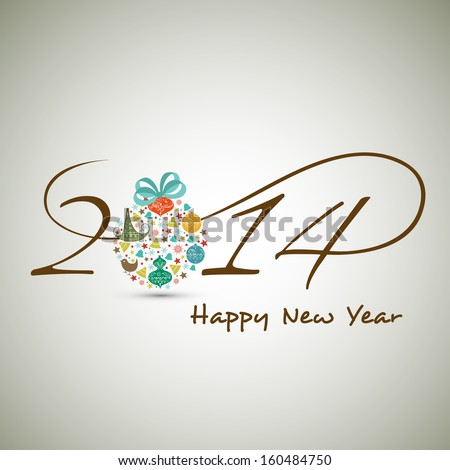 Happy New Year 2014 celebration background with stylish text colorful Xmas ball on abstract grey background.  - stock vector