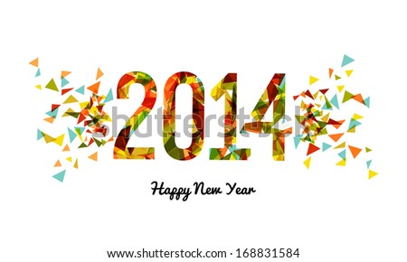 Happy new year 2014 celebration banner design background. EPS10 vector file with transparency layers.
