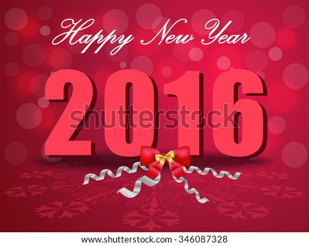 Happy New Year 2016, celebration concept with bow ribbons on beautiful glow background vector - eps10 - stock vector